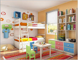 Beautiful Inspiring Kids Room With Bunk Bed Orange Wall Floral Rug Id879 Inspiring Kids Room Interior Design Ideas Kids Room Designs Interior Design