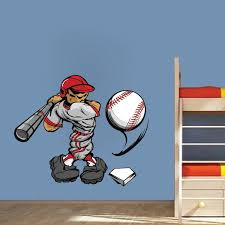 Baseball Player Wall Decal Sports Decor Cartoon Bedroom Wall Art Baseb American Wall Designs