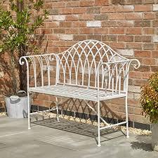 cream vintage garden bench white