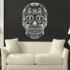 Sugar Skull Wall Decal Inspired Halloween Muertos Mexican Vinyl Mural Home Decor Ebay