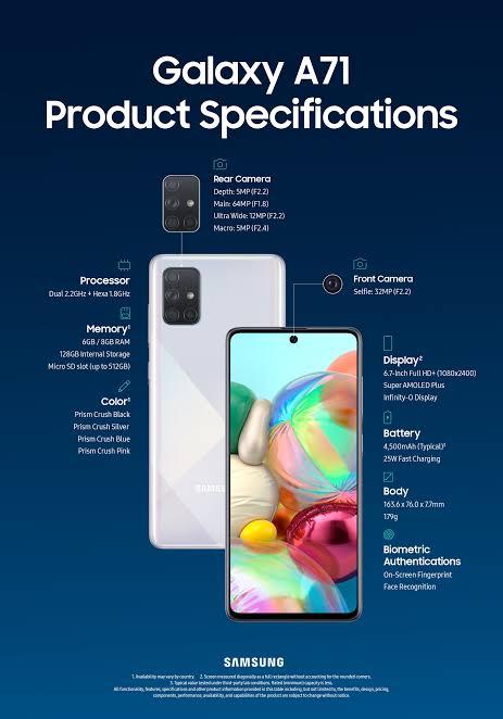 Dirilis Hari Ini Bareng Galaxy A51, Berikut Spesifikasi Galaxy A71
