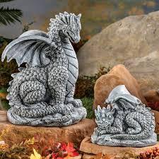 baby dragons garden statue set