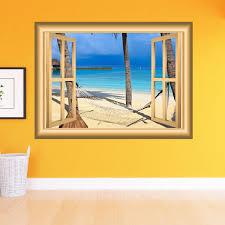 Vacation Spot Hammock Palm Trees Beach Scene Family Wall Art 3d Window Frame Vinyl Wall Decal Window Frame Peel And Stick Mural Nw9