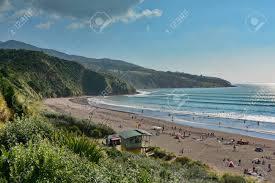 Black Sand Ngarunui Beach In Raglan, New Zealand, Popular For ...