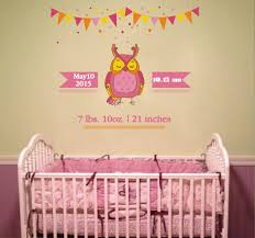 Cik452 Full Color Wall Decal Date Of Birth Weight Growth Owl Children Stickersforlife