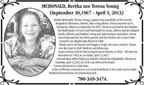 Bertha McDonald - Obituaries - Fort McMurray, AB - Your Life Moments
