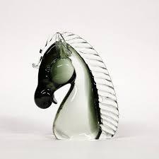 murano glass horse head glass art