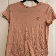 H M Tops Blush Tee Shirt With Small Heart Decal Poshmark