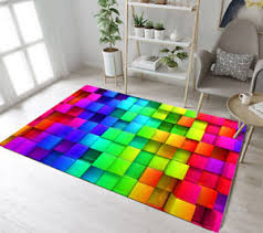 Colored Squares Living Room Floor Decor Mat Yoga Carpet Kids Crawling Area Rugs Ebay