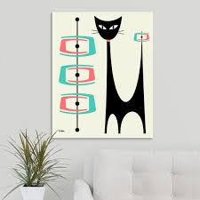Greatbigcanvas 24 In X 30 In Atomic Cat With Pink And Aqua Shapes On Cream By Donna Mibus Canvas Wall Art 2527919 24 24x30 The Home Depot