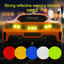 Funny 10pcs Set Round Decal Reflective Tape Bumper Sticker Automobiles Safety Warning Auto Body Car Accessories Reflective Sticker Exterior Accessories Car Sticker Wish
