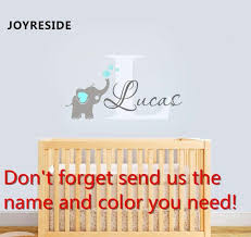 Custom Personalized Name Color Baby Elephant Wall Decal Vinyl Sticker Kjselections