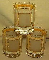 yellow stripe frosted glasses vintage