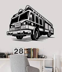 Vinyl Wall Decal Firefighter Fire Truck Engines Children Room Stickers Wallstickers4you