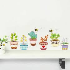 Garden Flower Bee Pot Plant Culture Decal Wall Stickers Pvc Diy Living Room For Sale Online Ebay