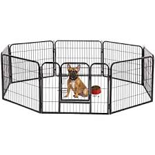 Amazon Com Pet Playpen Exercise Pen Dog Fence Animal Kennel Cage Yard Travel Camping Wire Metal Portable Folding Indoor Outdoor Crate For Dogs With Door 24inches 8 Panels And 16 Panels 6424