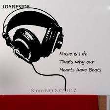 Earphone Headphone Wall Sticker Music Wall Decals Home Livingroom Fashion Art Decoration Wall Stickers Headphones Pattern M315 Wall Stickers Aliexpress