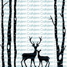 Trees Deer 12x12 Silhouette Vinyl Decal White Craftyjenn
