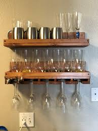 rustic wood wine rack shelf hanging