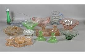 mixed vintage coloured glassware