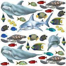 Tropical Fish Wall Stickers Dolphin Wall Decals Undersea Wall Decals