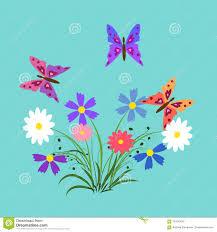 Las Flores Y Las Mariposas Ilustracion Elementos Para Las Tarjetas