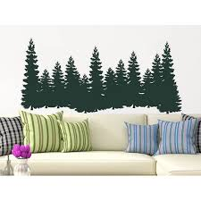 Pine Trees Wall Decal Forest Landscape Nature Vinyl Sticker Home Decor Walmart Com Walmart Com