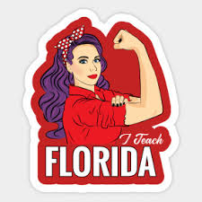 Red For Ed Florida State Outline Red For Ed Florida Sticker Teepublic