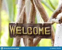 Welcome Sign Hanging In The Garden Stock Image Image Of Fence Board 125884393