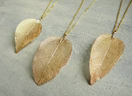 gold leaf necklace gold plated real