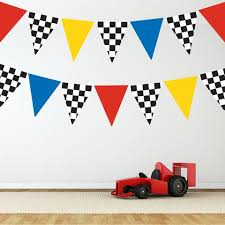 Race Car Flag Wall Decals Repositionable Matte Fabric Wall Stickers