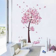 Pink Butterfly Flower Tree Wall Stickers Decals Removable Diy Decals For Home Living Room Bedroom Decor Wall Stickers Aliexpress