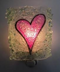 recycled bottle glass heart night light