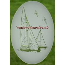 Amazon Com Sailboat Oval Etched Window Decal Vinyl Glass Cling 10 5 X 16 White With Clear Design Elements Home Kitchen