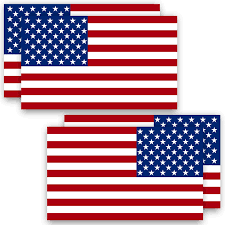 Amazon Com Anley 5 X 3 American Us Flag Decal 4pcs 2 Forward 2 Reversed Patriotic Stars Reflective Stripe Usa Flag Car Stickers Support Us Military 4 Pack Set Automotive