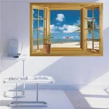 Shop 3d Beach Wall Stickers Vinyl Decal Home Decor Deco Art Diy Window View Removable Overstock 21465579