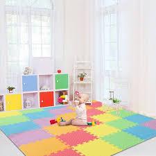 Zyooh Baby Play Mat With Fence Interlockin Foam Floor Tiles With Crawling Mat Walmart Com Walmart Com