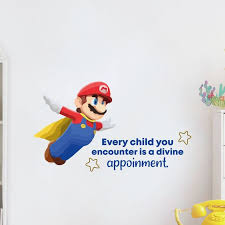Design With Vinyl Every Child Super Mario Life Cartoon Quotes Wall Decal Wayfair