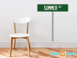 Personalized Street Sign Fabric Wall Decal With Pole Sunny Decals