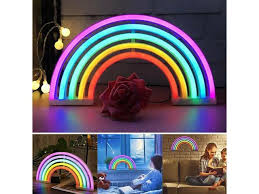 Led Rainbow Neon Night Light Colorful Sign Wall Lamp For Kids Room Battery Operated Usb Holiday Party Wedding Decor Night Lamp Newegg Com