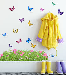 Spring Butterfly Meadow Grass Border Wall Decals