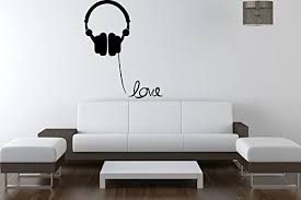 Amazon Com Creativewalldecals Wall Decal Vinyl Sticker Headphone Music Lifestyle Lettering Quote Gift V343 Home Kitchen