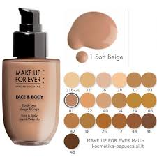 makeup forever face and body colors