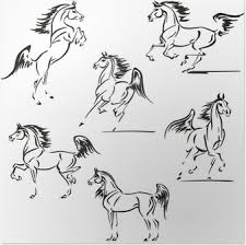 Poster Rennend Paard Tekening Zwart Wit Pixers We Leven Om