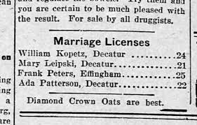 Frank & Ada Patterson Peters Marriage license newspaper notice -  Newspapers.com