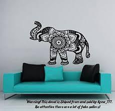 Wall Decal Elephant Vinyl Sticker Decals Lotus Indian Elephant Floral Patterns Mandala Tribal Buddha Ganesh Om Home Decor Bedroom Art Design Interior Ns384 Elephant Things