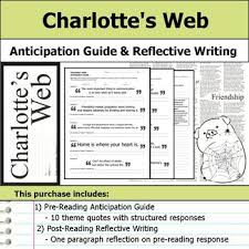 charlotte s web anticipation guide reflection by s j brull tpt