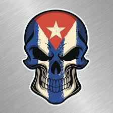 Cuban Flag Skull Vinyl Decal Sticker Car Window Bumper Decals Truck Cuba Cubano Flag Pride Wish