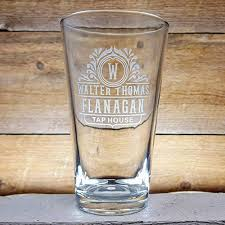 personalized pint beer glasses 2 x with