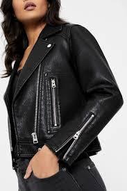 top petite faux leather biker